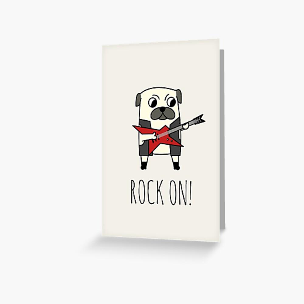 Rockstar Pug Greeting Card