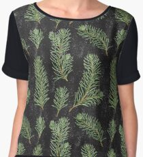 Watercolor pine branches pattern on black background Women's Chiffon Top