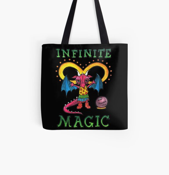 Infinite Magic - Whimsical Cute Dragon Illustration All Over Print Tote Bag