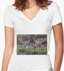 Pair of coyotes in a forest Women's Fitted V-Neck T-Shirt