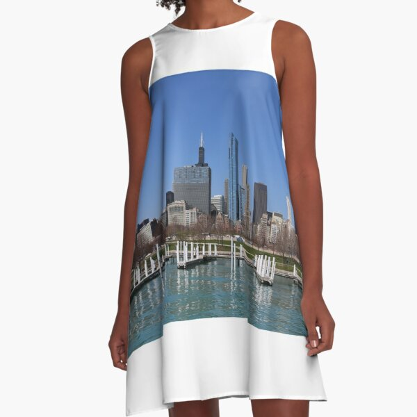 Chicago lakefront in summer A-Line Dress