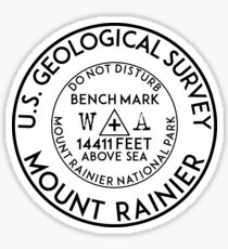 BENCHMARK MOUNT RAINIER NATIONAL PARK WASHINGTON USGS GEOCACHING HIKING CLIMBING Sticker