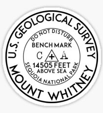 BENCHMARK MOUNT WHITNEY CALIFORNIA SEQUOIA NATIONAL PARK HIKING CLIMBING INYO FOREST SIERRA NEVADA Sticker