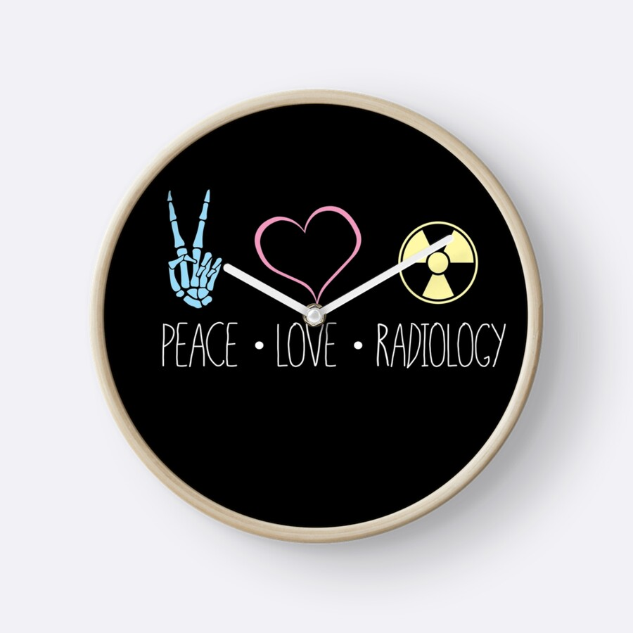 Peace love and radiology rad tech rt clocks by scott jay peace love and radiology rad tech rt by scott jay buycottarizona Image collections