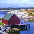 Red Fishing Shed on the Cove by kenmo