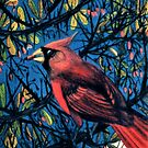 Cardinal in the Barberry Bush by Jedro