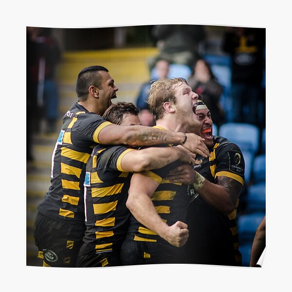 Joe Launchbury and friends celebrate his try Poster