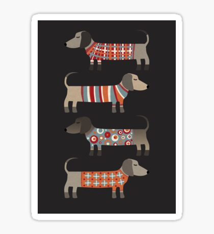 Sausage Dogs in Sweaters Dark Sticker