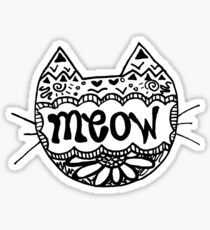 "Decorated ""Meow"" Cat Sticker"