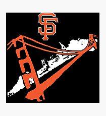 San Francisco Giants Stencil White Photographic Print