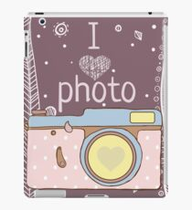 Vector hand drawn photo camera with text iPad Case/Skin