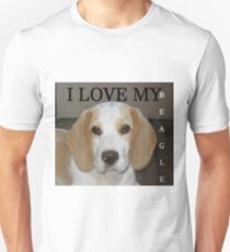 beagle tan white love with picture T-Shirt