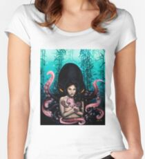 Woman with Baby Octopus and Tentacles Painting Women's Fitted Scoop T-Shirt