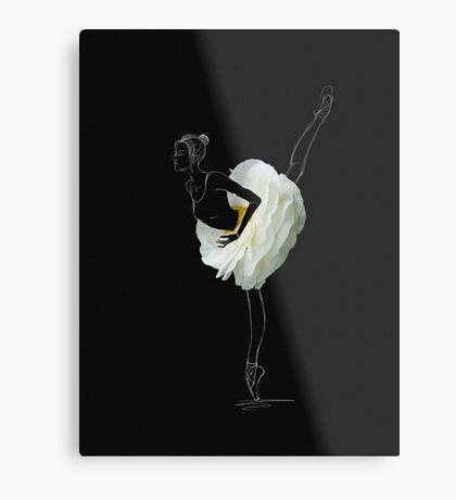 Ballerina in white flower skirt Metal Print