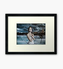 Girl in Frozen Lake with Ravens Framed Print