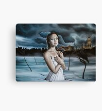 Girl in Frozen Lake with Ravens Canvas Print