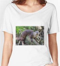 River Otter On A Log Women's Relaxed Fit T-Shirt
