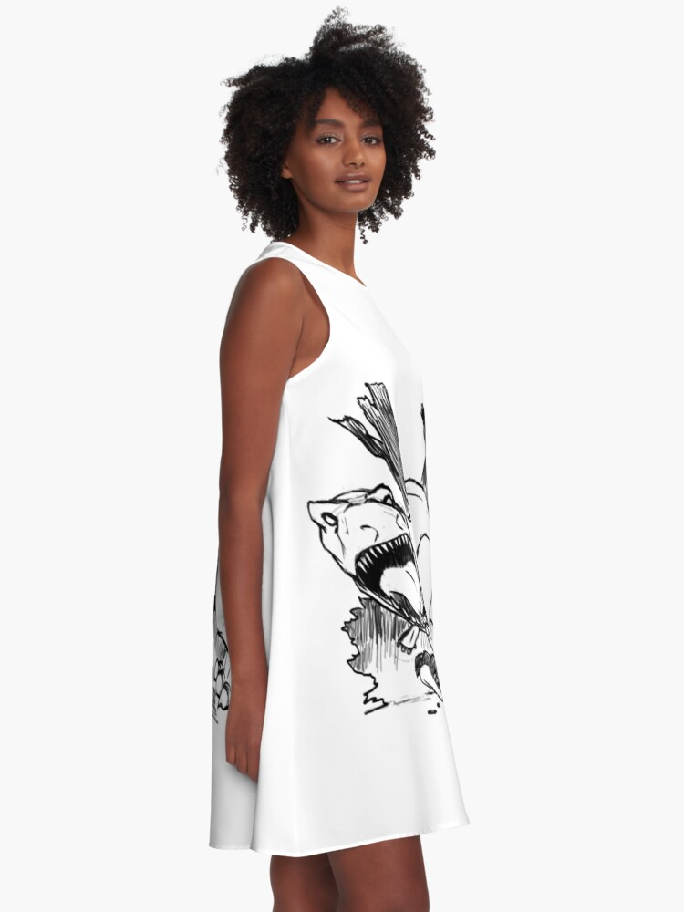 Alternate view of Dinosaurs And Robots- black version A-Line Dress