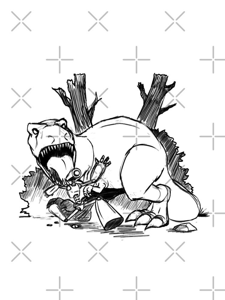 Dinosaurs And Robots- black version by sketchbooksage