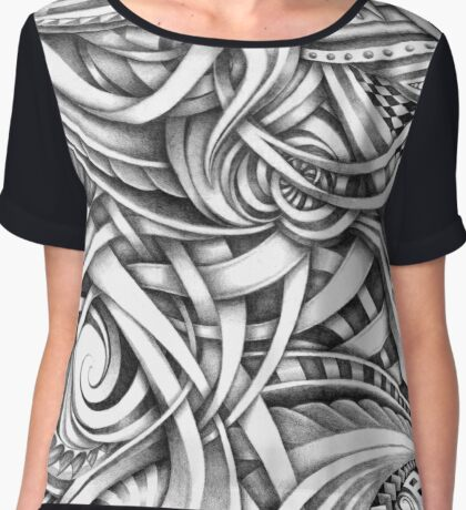 Escher Like Abstract Hand Drawn Graphite Gray Depth Chiffon Top