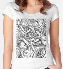 Escher Like Abstract Hand Drawn Graphite Gray Depth Women's Fitted Scoop T-Shirt