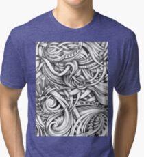 Escher Like Abstract Hand Drawn Graphite Gray Depth Tri-blend T-Shirt