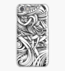 Escher Like Abstract Hand Drawn Graphite Gray Depth iPhone Case/Skin