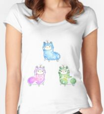 Tie Dye Cute Llama/Alpaca Pack Women's Fitted Scoop T-Shirt