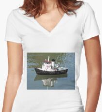 Model tugboat reflections in water Women's Fitted V-Neck T-Shirt