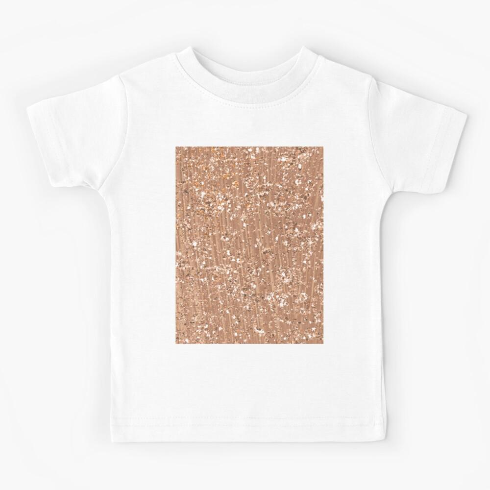 Roségold gemalte Pinselstriche und Glitzer Kinder T-Shirt