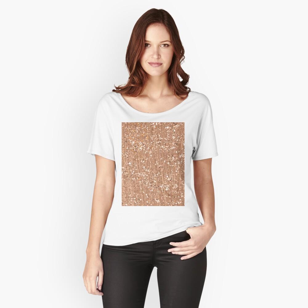 Roségold gemalte Pinselstriche und Glitzer Loose Fit T-Shirt