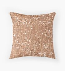Rose gold painted brushstrokes and glitter Throw Pillow