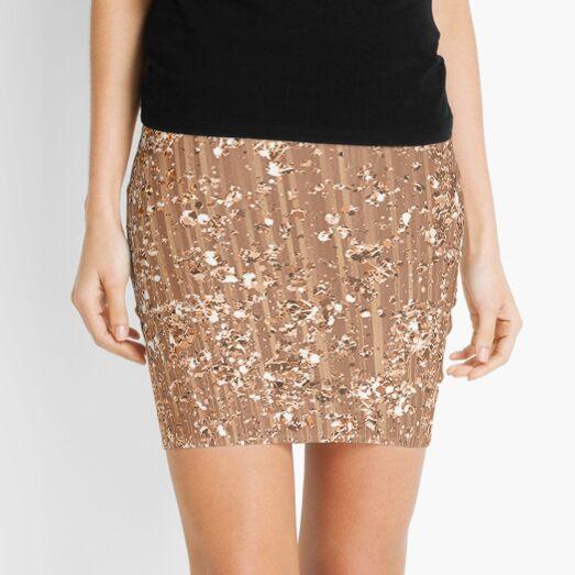 Rose gold painted brushstrokes and glitter Mini Skirt
