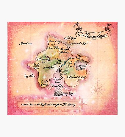 Jessica's wedding Neverland map Final Photographic Print