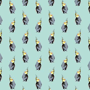 Cockatiel textile pattern (digital illustration) | turquoise by alisadraws