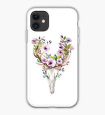 Deer skull watercolor flowers antlers iPhone Case