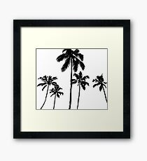 Tropical palms in monochrome Framed Print