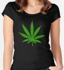 Marijuana Leaf Women's Fitted Scoop T-Shirt