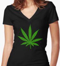 Marijuana Leaf Women's Fitted V-Neck T-Shirt