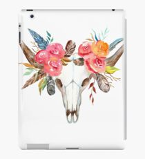 Cow skull watercolor flowers  iPad Case/Skin