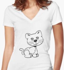 Cute baby sweet cute cat Women's Fitted V-Neck T-Shirt
