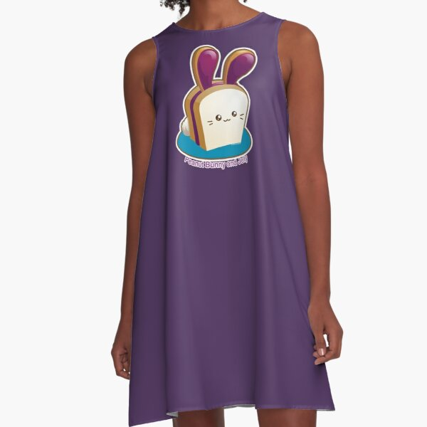 Punny Buns: Cute Peanut Butter and Jelly Sandwich Bunny A-Line Dress