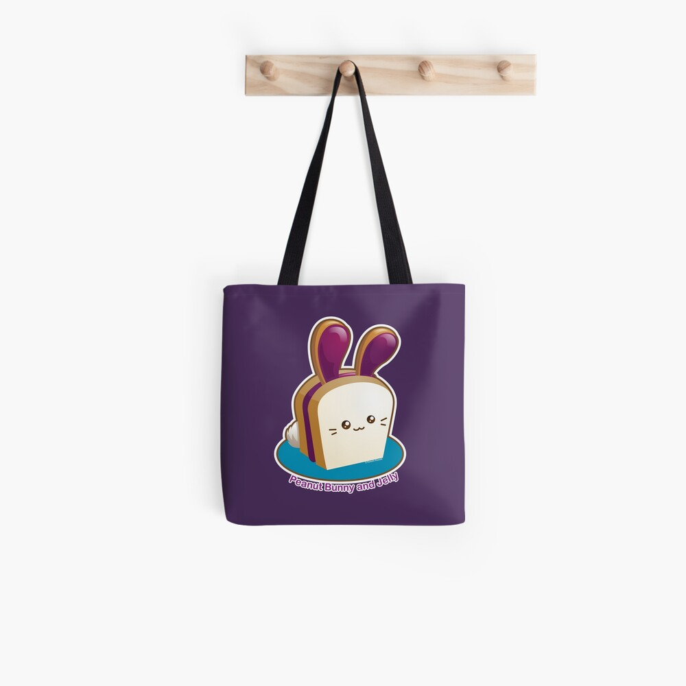 Punny Buns: Cute Peanut Butter and Jelly Sandwich Bunny Tote Bag