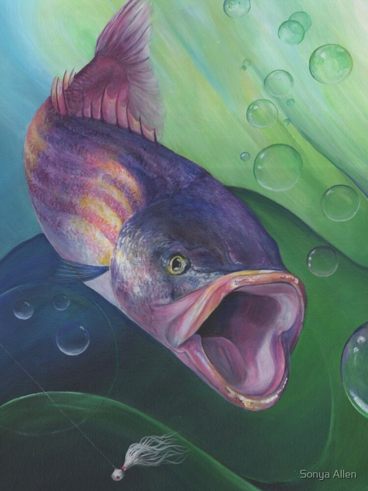 Large Mouth Sea Bass with Lure and Bubbles by sonyaann13