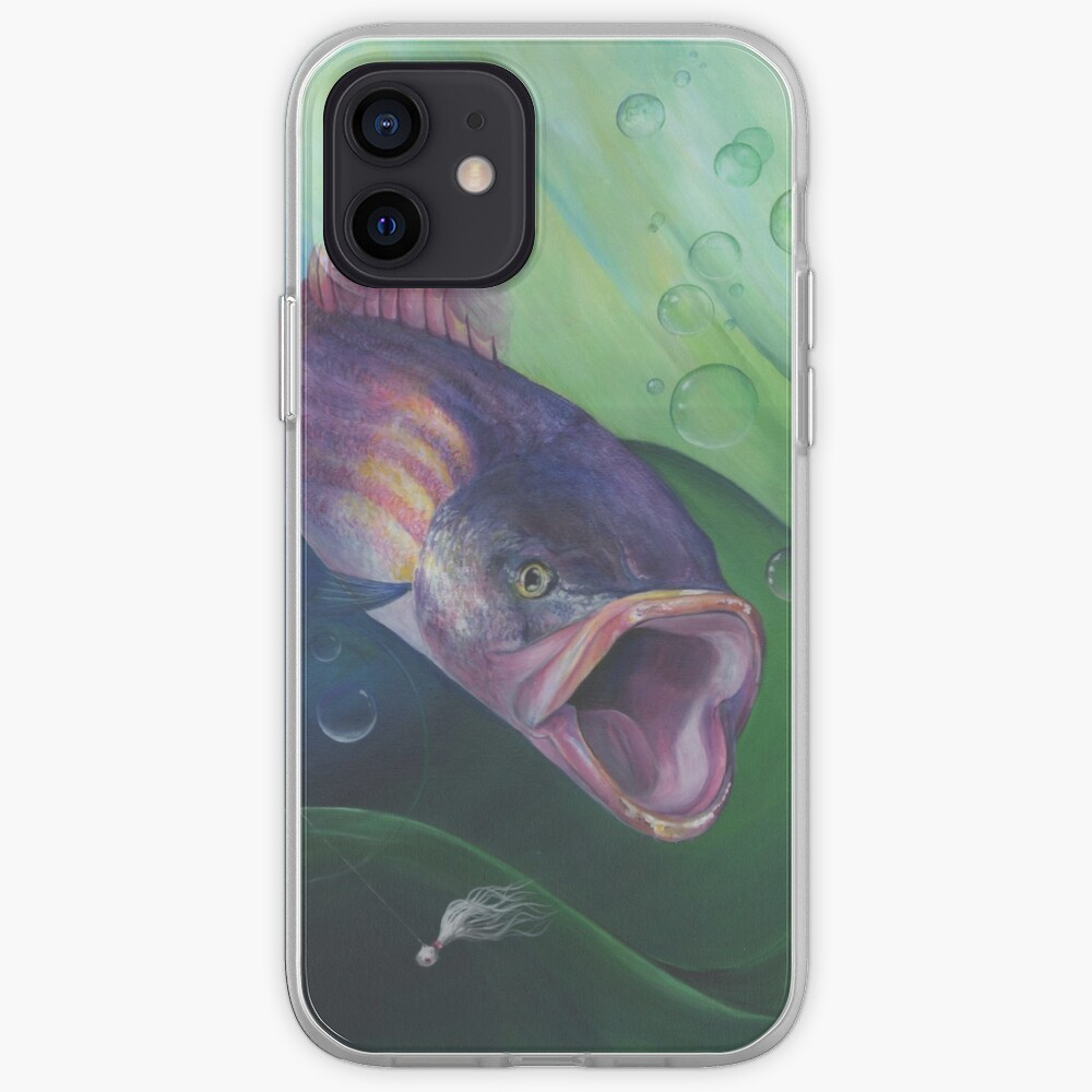 Large Mouth Sea Bass with Lure and Bubbles iPhone Case & Cover