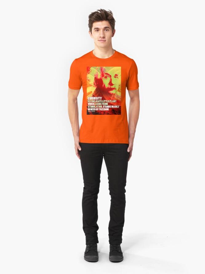 Alternate view of Albert Einstein Inspirational Quote Slim Fit T-Shirt