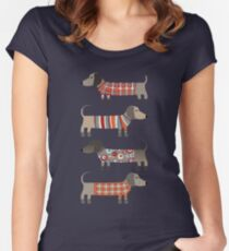 Sausage Dogs in Sweaters Dark Women's Fitted Scoop T-Shirt