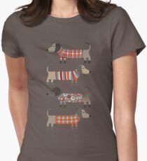 Sausage Dogs in Sweaters Dark Womens Fitted T-Shirt