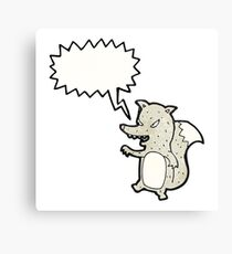 cartoon clever wolf Canvas Print