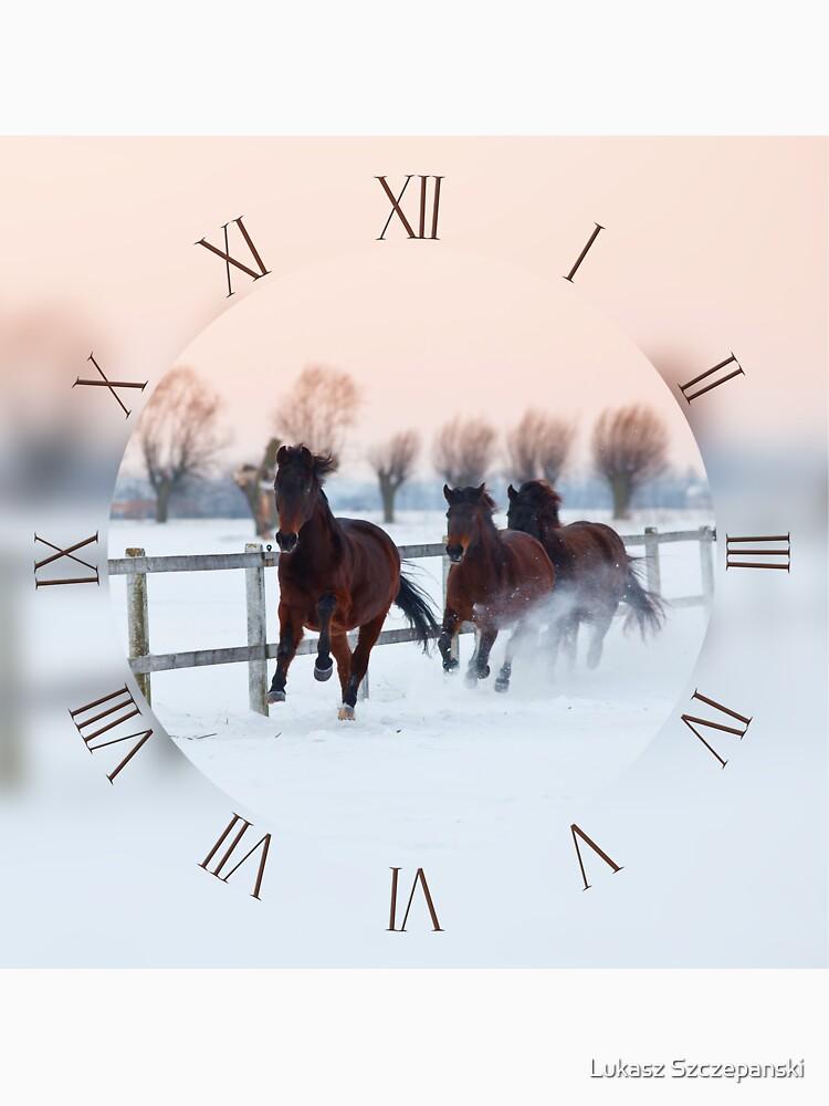 Horses galloping on snow by LukeSzczepanski